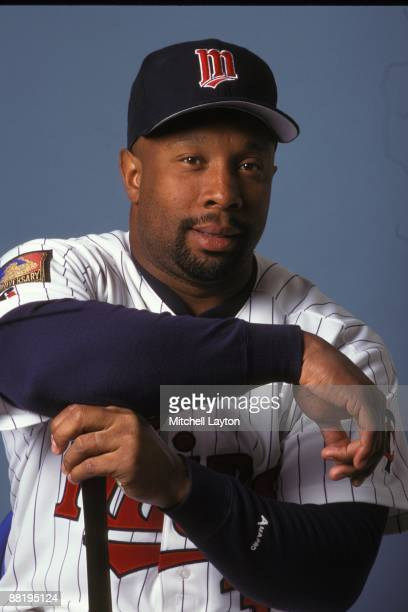 Kirby Puckett of the Minnesota Twins poses for photo on media day at on March 1 1995 at Hammond Stadium in Fort Myer Florida