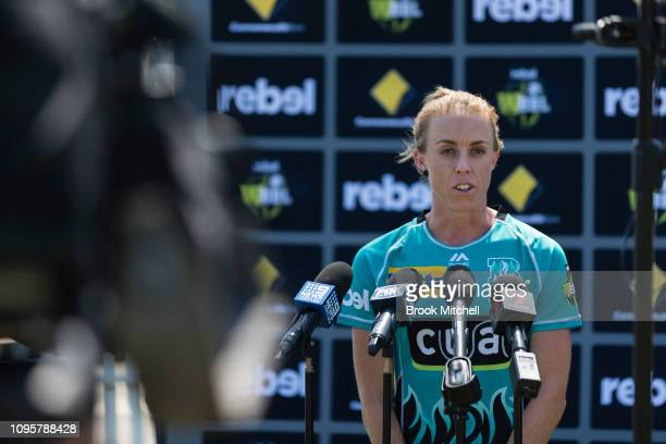 Kirby Short of the Brisbane Heat fronts the media during the Women's Big Bash League media opportunity at Drummoyne Oval on January 18 2019 in Sydney...