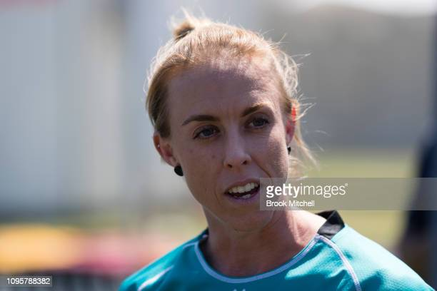 Kirby Short of the Brisbane Heat speaks during the Women's Big Bash League media opportunity at Drummoyne Oval on January 18 2019 in Sydney Australia