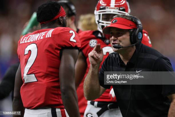 Kirby Smart head coach of the Georgia Bulldogs looks on during the Allstate Sugar Bowl at MercedesBenz Superdome on January 01 2019 in New Orleans...
