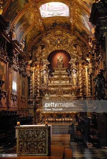 Kirche Sankt Benedikt Blick auf Altar mit MarienStatue Zentrum Rio de Janeiro Brasilien Südamerika vergoldet gold Blattgold Reise NB DIG ProdNr...
