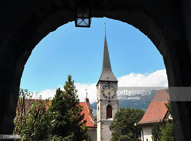 kirche st. martin, chur, graubünden, suiza - kirche fotografías e imágenes de stock