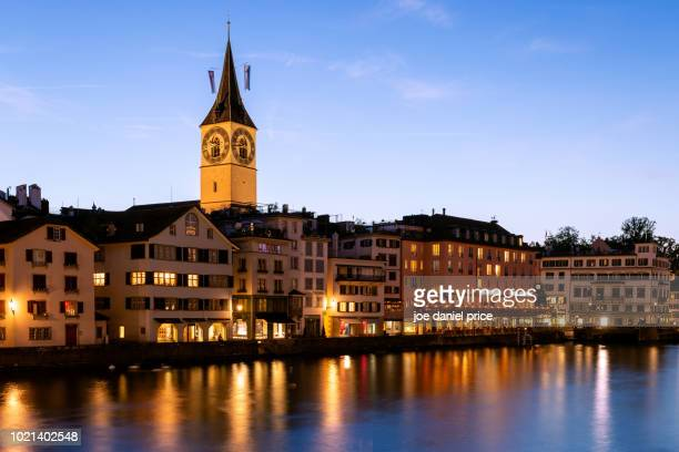 kirche st. peter, zurich, switzerland - kirche stock pictures, royalty-free photos & images