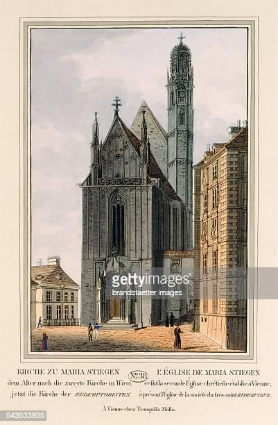 Kirche zu Maria Stiegen [Maria am Gestade] 1825 Colored copper engraving Journal No 38 from >Wiens vorzüglichste Gebäude und Monumente Les principaux...