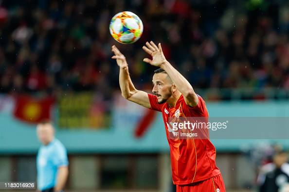 Kire Ristevski of North Macedonia throw-in during the UEFA Euro ...