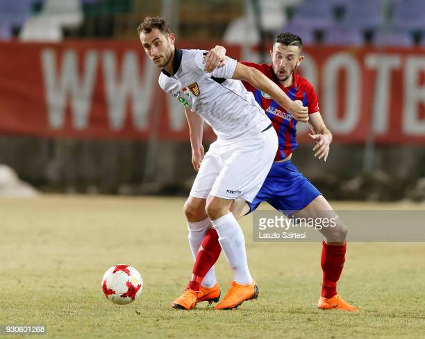 Kire Ristevski of Vasas FC competes for the ball with Marton Eppel of Budapest Honved during the Hungarian OTP Bank Liga match between Vasas FC and...