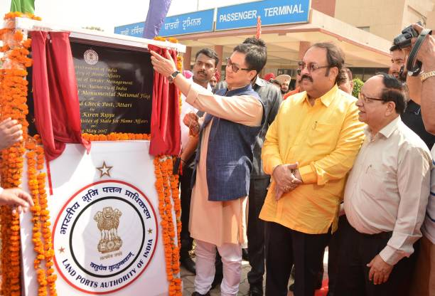 Kiren Rijiju Union Minister of State for Home Affairs along with Rajya Sabha MP Shwait Malik Bakshi Ram Arora Mayor laying the foundation stone at...