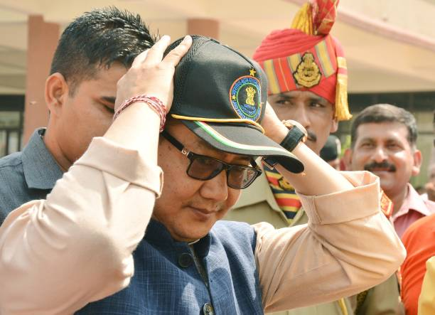 Kiren Rijiju Union Minister of State for Home Affairs along with Rajya Sabha MP Shwait Malik during the inauguration of 107 feet high tricolour at...