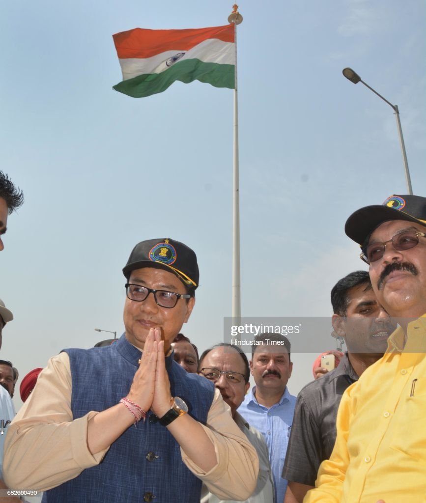 Kiren Rijiju Union Minister of State for Home Affairs along with Rajya Sabha MP Shwait Malik after hoisting the 107 feet high tricolour at Integrate..