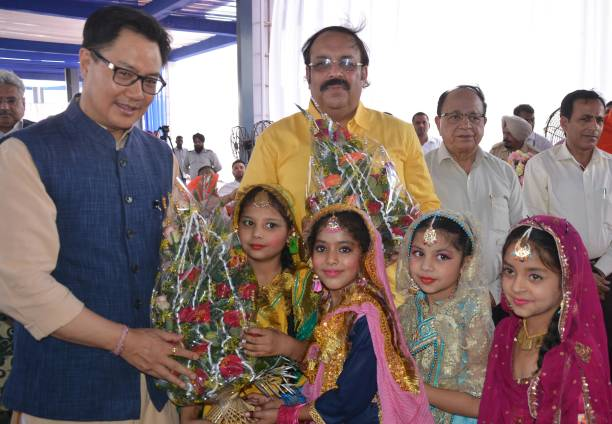 Kiren Rijiju Union Minister of State for Home Affairs along with Rajya Sabha MP Shwait Malik being welcomed by school girls during the inauguration...
