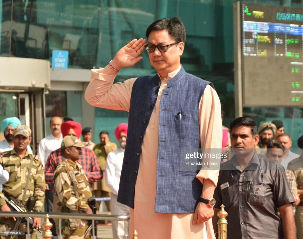Kiren Rijiju Union Minister of State for Home Affairs takes the guard of honour at Sri Guru Ram Das Jee International Airport before his visit at...