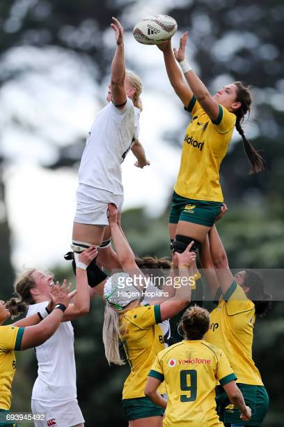 Kiri Lingman of Australia wins a lineout over Tamara Taylor of England during the Women's International Test match between the Australian Wallaroos...