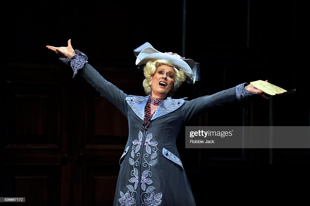 Kiri Te Kanawa as La Duchesse de Crackentorp in the Royal Opera's production of Gaetano Donizetti's La Fille Du Regiment directed by Laurent Pelly and conducted by Yves Abel at the Royal Opera House covent Garden in London.