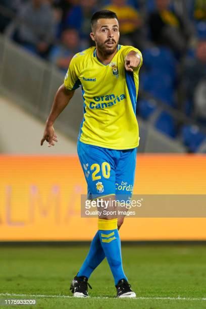 Kirian Rodriguez of Las Palmas reacts during the match between Las Palmas and Sporting at Estadio Gran Canaria on September 19, 2019 in Las Palmas,...