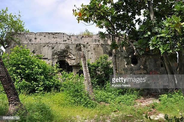 TARAWA Kiribati Gunshot marks pepper the wall of buildings believed to have been used as a command center by the Japanese military in Tarawa Kiribati...