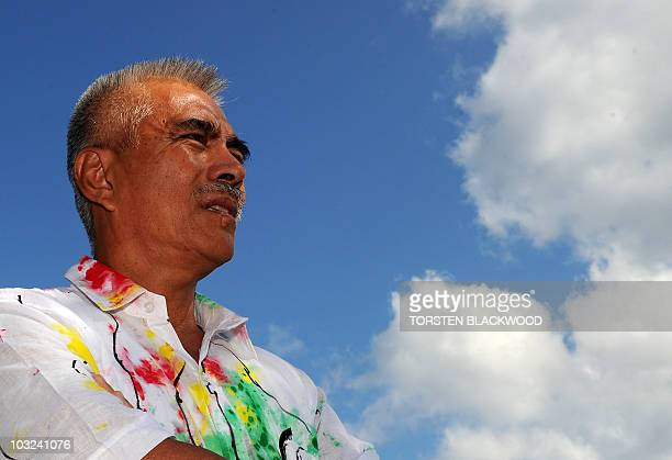 Kiribati President Anote Tong arrives for the 41st Pacific Islands Forum leaders' retreat in Port Havannah on Efate on August 5 2010 The leaders from...