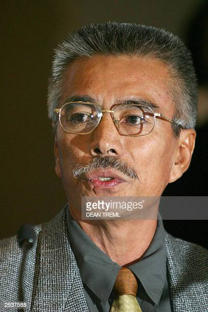 Kiribati President Anote Tong attends a press conference during the 34th Pacific Islands Forum Sheraton Hotel in Auckland 14 August 2003 Leaders and...