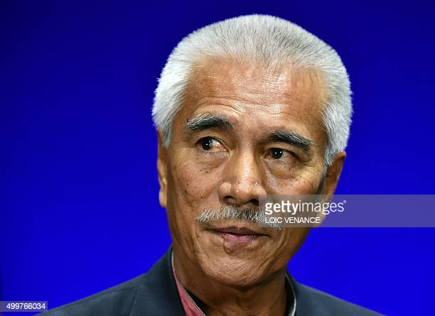 Kiribati's President Anote Tong listens to a question during an interview at the United Nations conference on climate change COP21 in Le Bourget on...