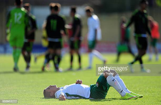 Kiril Despodov of Bulgaria cuts a dejected figure during the Toulon Tournament match between Bulgaria and Mexico at Stade Perruc on May 24 2016 in...