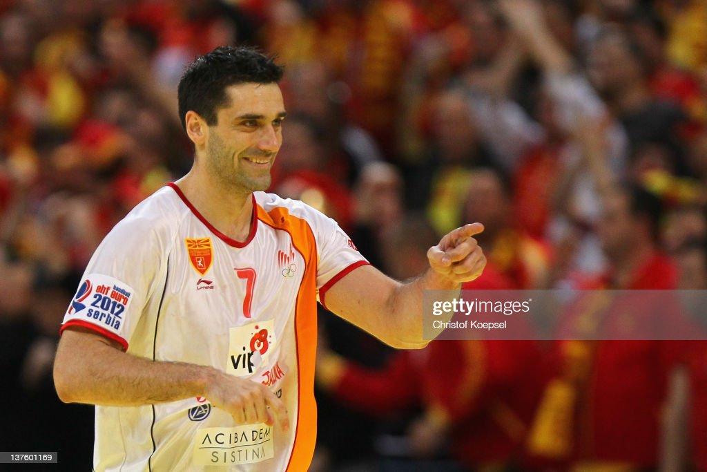 Kiril Lazarov of Macedonia celebrates a goal during the Men's European Handball Championship second round group one match between Poland and Macedonia at Beogradska Arena on January 23, 2012 in Belgrade, Serbia.