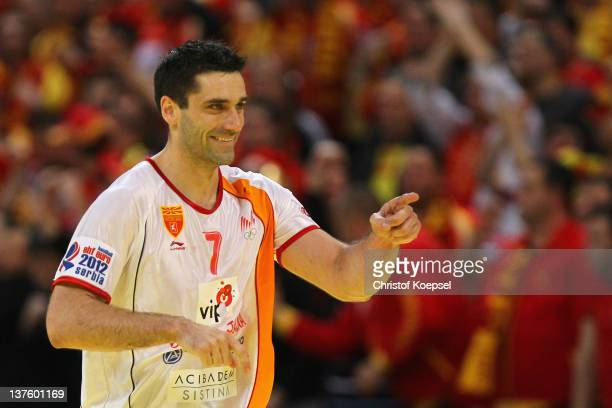Kiril Lazarov of Macedonia celebrates a goal during the Men's European Handball Championship second round group one match between Poland and...