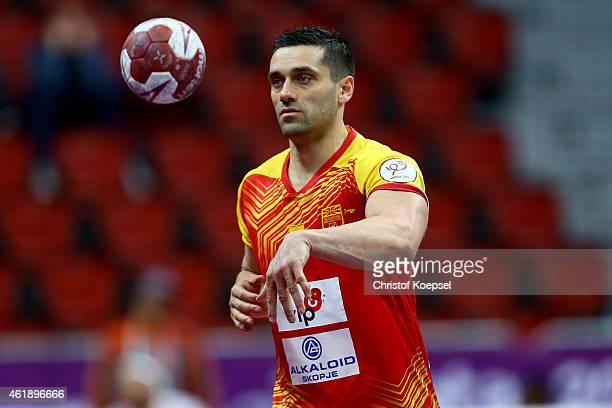 Kiril Lazarov of Macedonia passes the ball during the IHF Men's Handball World Championship group B match between Macedonia and Croatia at Duhail...
