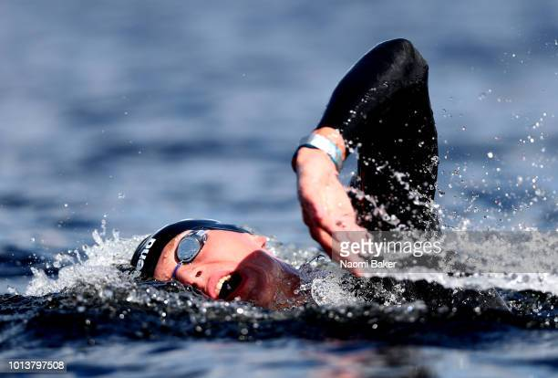 Kirill Belyaev of Russia competes in the Men's 10km race during the open water swimming on Day eight of the European Championships Glasgow 2018 at...