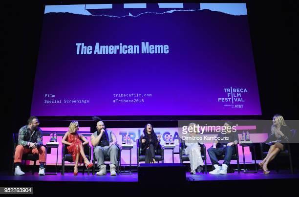 Kirill Bichustky Hailey Baldwin Josh Ostrovsky Brittany Furlan Paris Hilton Bert Marcus and Lola Tosh speak onsatge during the 2018 Tribeca Film...