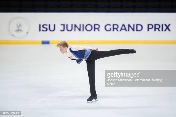 Kirill Iakovlev of Russia competes in the Junior Men's Short Program during the ISU Junior Grand Prix of Figure Skating Amber Cup 2018 at Zalgirio...