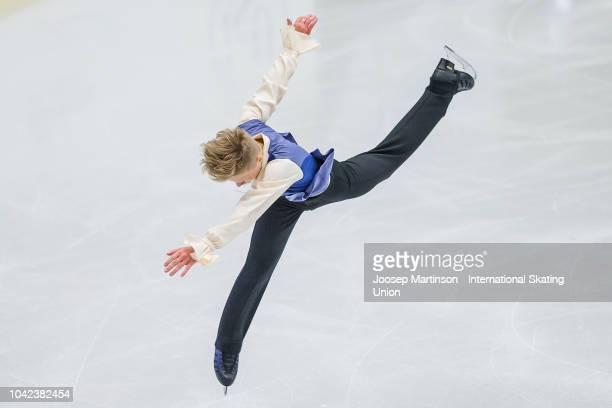 Kirill Iakovlev of Russia competes in the Junior Men's Short Program during the ISU Junior Grand Prix of Figure Skating at Ostravar Arena on...