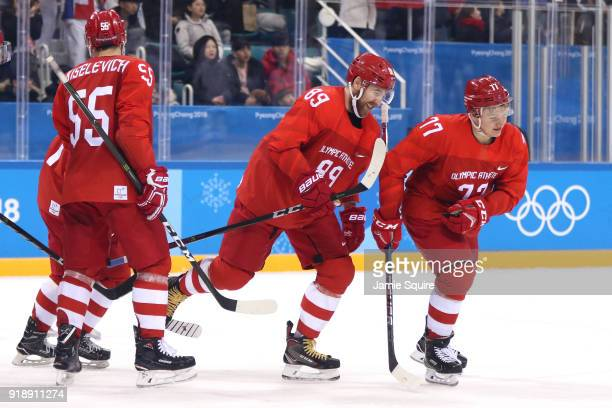 Kirill Kaprizov of Olympic Athlete from Russia celebrates a goal against Slovenia in the second period during the Men's Ice Hockey Preliminary Round...