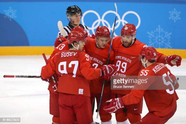 Kirill Kaprizov of Olympic Athlete from Russia celebrates a goal against Slovenia during the third period during the Men's Ice Hockey Preliminary...
