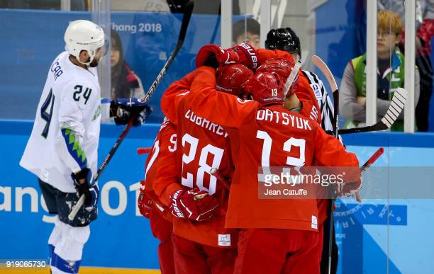 Kirill Kaprizov of Olympic Athlete from Russia celebrates his goal with teammates during the Men's Ice Hockey Preliminary Round Group B game between...
