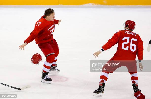 Kirill Kaprizov of Olympic Athlete from Russia celebrates scoring the winning gold medal goal in overtime during the Men's Ice Hockey Gold Medal...