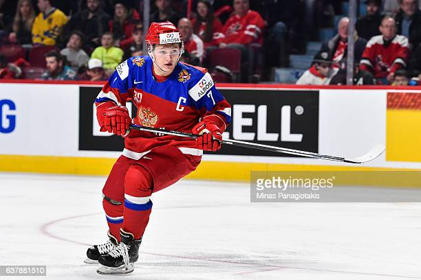 Kirill Kaprizov of Team Russia skates during the 2017 IIHF World Junior Championship bronze medal game against Team Sweden at the Bell Centre on...