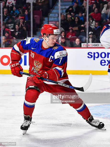Kirill Kaprizov of Team Russia skates during the 2017 IIHF World Junior Championship semifinal game against Team United States at the Bell Centre on...