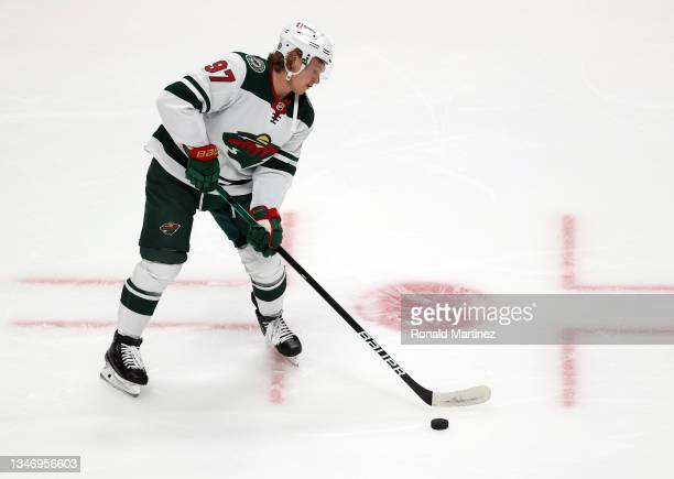 Kirill Kaprizov of the Minnesota Wild at Honda Center on October 15, 2021 in Anaheim, California.
