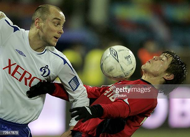 Kirill Kochubei of PFC CSKA Moscow competes for the ball with Dmitry Khokhlov of FC Dynamo Moscow during the Football Russian League Championship...