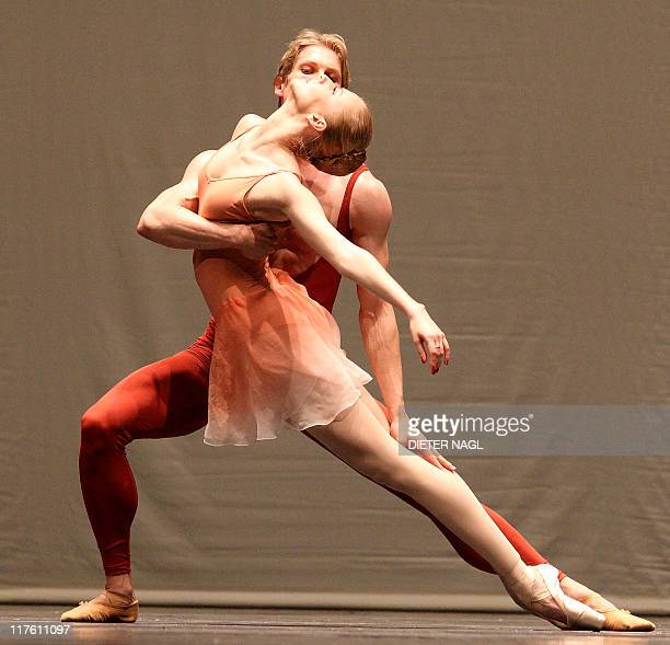 Kirill Kourlaev and Olga Esina of the Vienna state ballet dance during the general rehearsal of the ballet Bach Suite III on June 28 2011 at the...