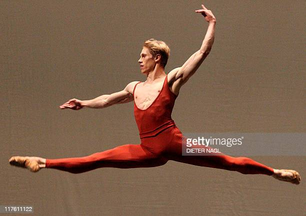 Kirill Kourlaev of the Vienna state ballet dances during the general rehearsal of the ballet Bach Suite III on June 28 2011 at the Vienna state opera...
