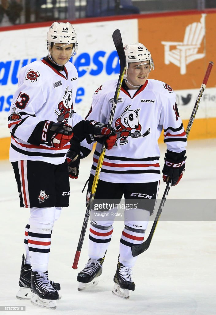 Kirill Maksimov #13 of the Niagara IceDogs celebrates a goal with Danial Singer #16 during the second period of an OHL game against the Ottawa 67's at the Meridian Centre on November 24, 2017 in St Catharines, Ontario, Canada.