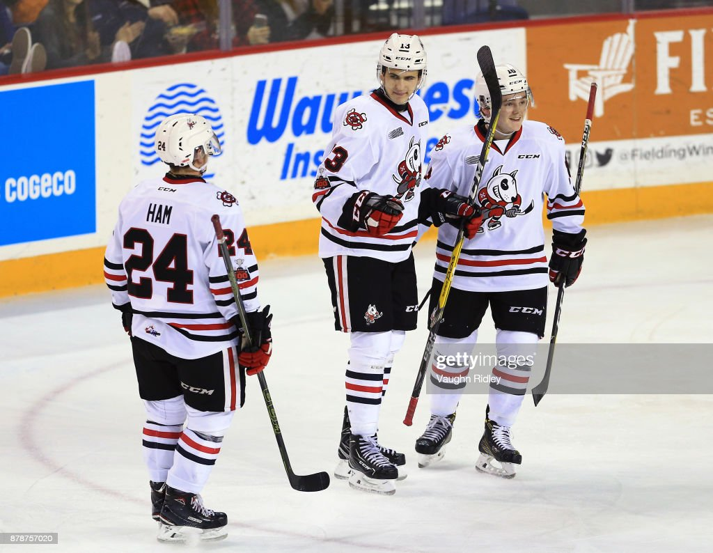 Kirill Maksimov #13 of the Niagara IceDogs celebrates a goal with Liam Ham #24 and Danial Singer #16 during the second period of an OHL game against the Ottawa 67's at the Meridian Centre on November 24, 2017 in St Catharines, Ontario, Canada.