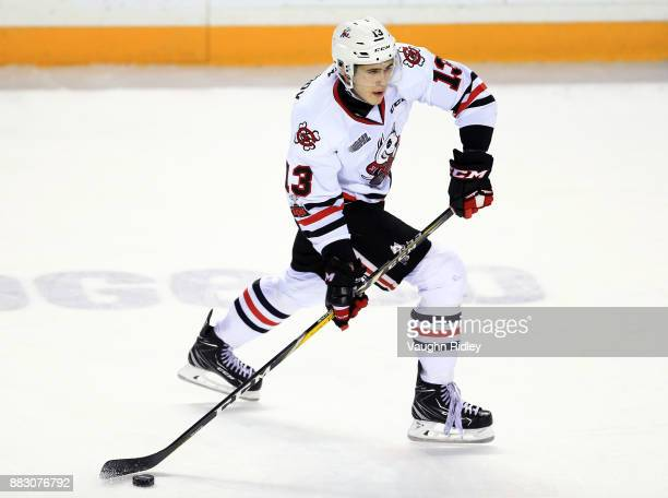 Kirill Maksimov of the Niagara IceDogs skates during an OHL game against the Mississauga Steelheads at the Meridian Centre on November 25 2017 in St...