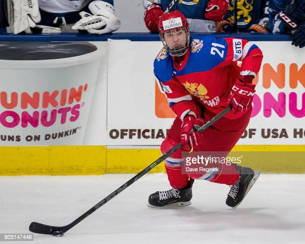 Kirill Marchenko of the Russian Nationals controls the puck against the Finland Nationals during the 2018 Under18 Five Nations Tournament game at USA...