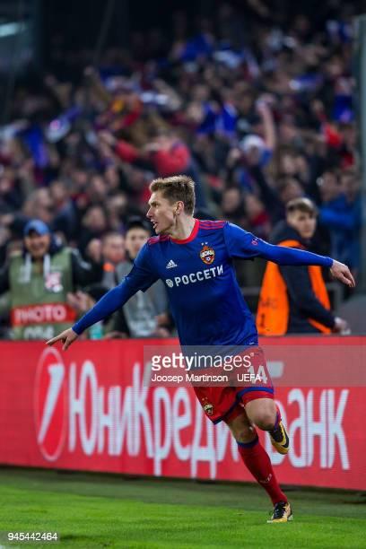Kirill Nababkin of CSKA Moskva celebrates his goal during the UEFA Europa League quarter final leg two match between CSKA Moskva and Arsenal FC at...