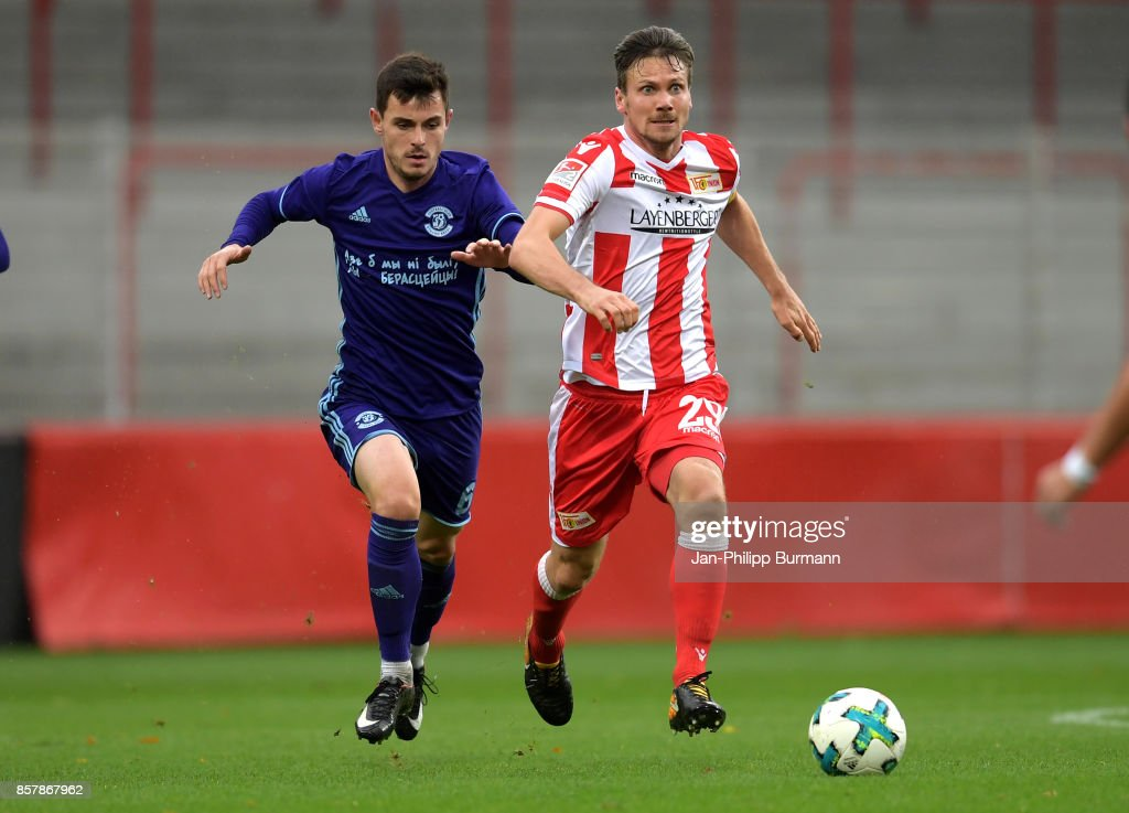 Kirill Premudrov of Dinamo Brest and Michael Parensen of 1 FC Union Berlin during the game between Union Berlin and FK Dinamo Brest on october 5, 2017 in Berlin, Germany.