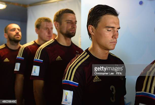 Kirill Romanov of Russia closes his eyes and concentates as he waits to enter the pitch during the FIFA Beach Soccer World Cup Group D match between...