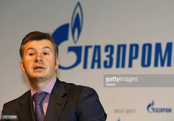 Kirill Seleznev, a member of Gazprom's Management Committee and General Director of Mezhregiongaz, listens to questions during his press conference...