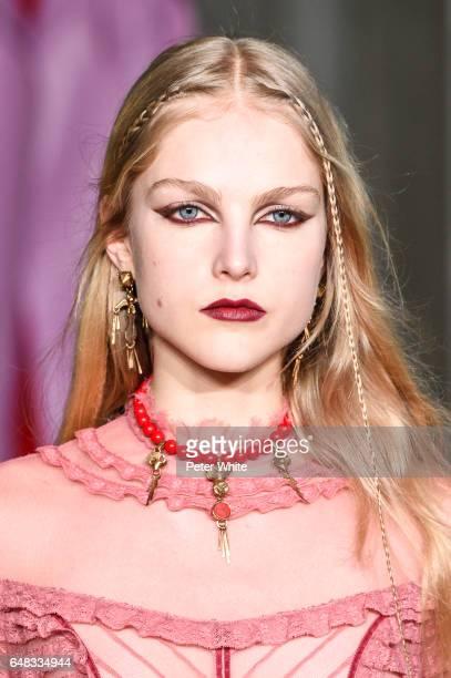 Kirin Dejonckheere beauty detail walks the runway during the Valentino show as part of the Paris Fashion Week Womenswear Fall/Winter 2017/2018 on...