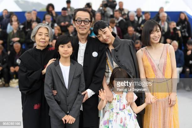 Kirin Kiki Hirokazu Koreeda Jyo Kairi Lily Franky Miyu Sasaki Sakura Ando and Mayu Matsuoka attends the photocall for 'Shoplifters ' during the 71st...